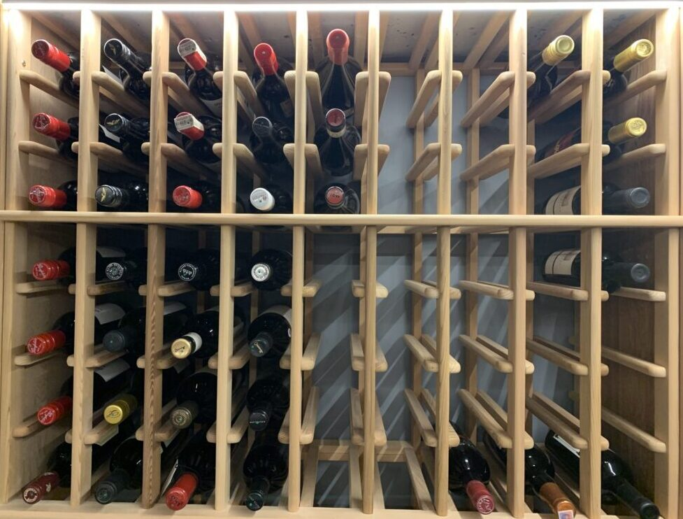 Timber Wine Racking with LED lighting