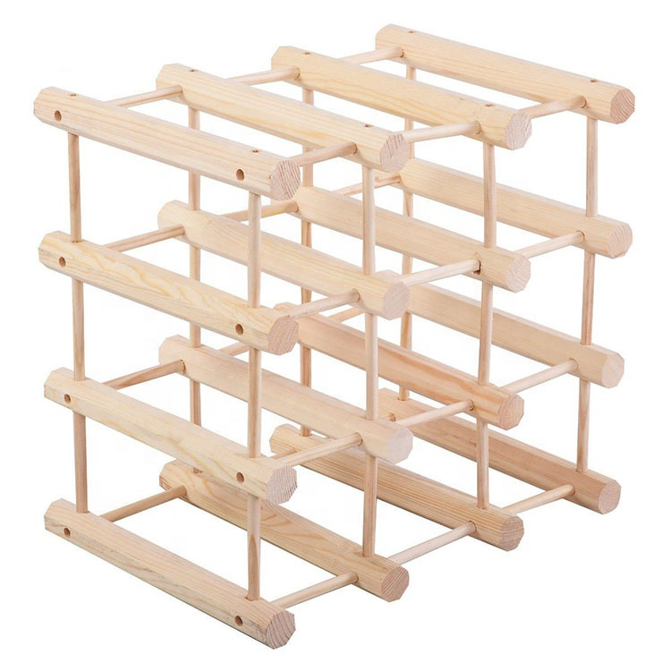 Home Decoration Wooden Wine Rack 9 Bottle Assembled