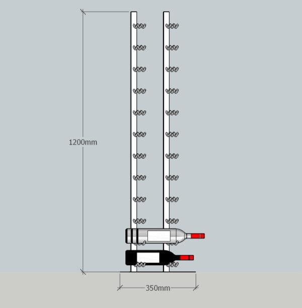 36 Bottle Steel Rack Usable Dimensions