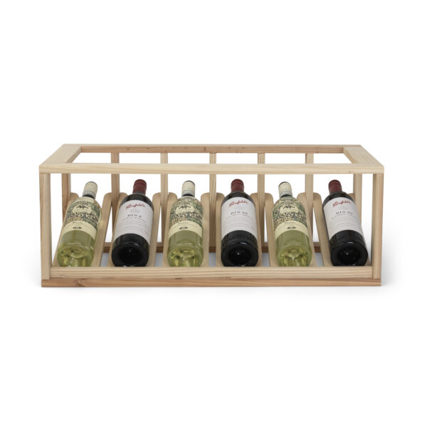 Cellar Smart 6 Bottle Display Wooden Wine Storage Rack.
